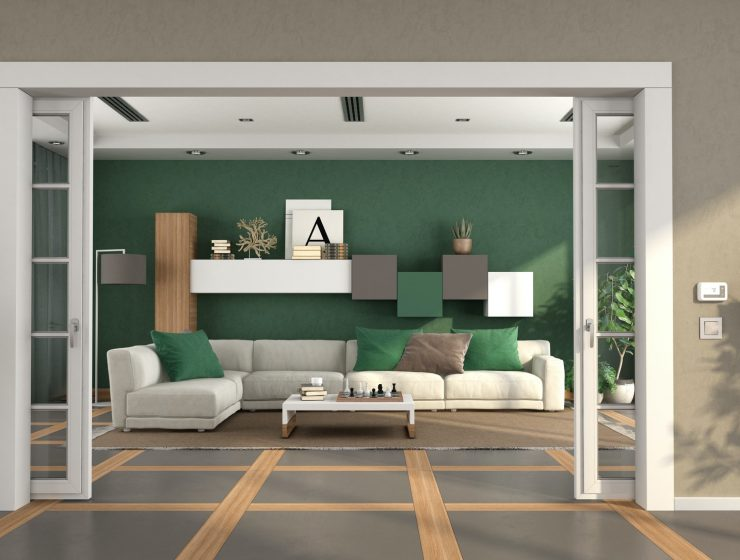 living room with open sliding door and sofa on background - 3d rendering