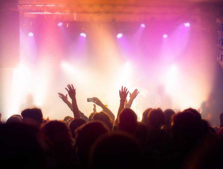 Music concert crowd, people enjoying live rock performance